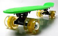 Скейт Penny Board 22. Green. Светящиеся желтые колеса. (Пенни борд), фото 1