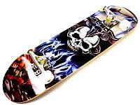 """Скейтборд деревянный трюковый с принтом Scale """"Skull"""", фото 1"""