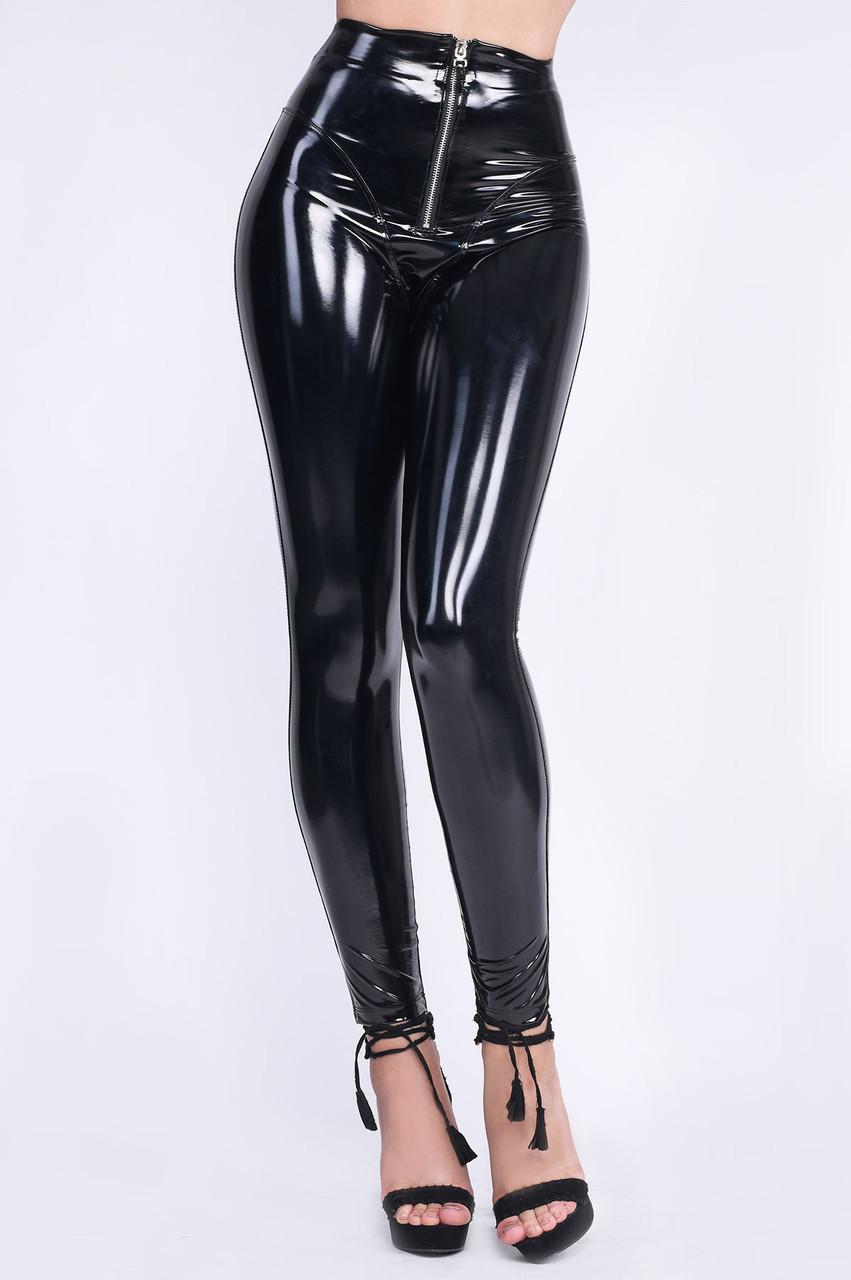 Лаковые брюки-леггинсы из эко-кожи