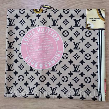 Платок Louis Vuitton шелк бежевый с принтом, фото 3