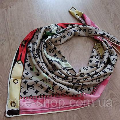 Платок Louis Vuitton шелк бежевый с принтом, фото 2