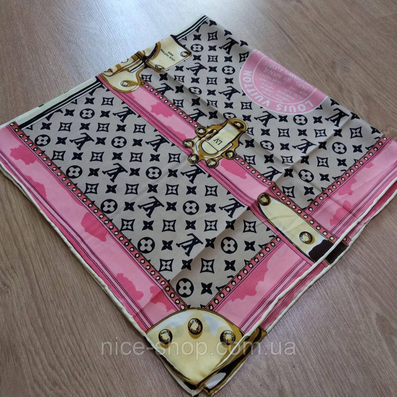 Платок Louis Vuitton шелк бежевый с принтом