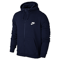 Спортивная мужская кофта на змейке Nike, синяя