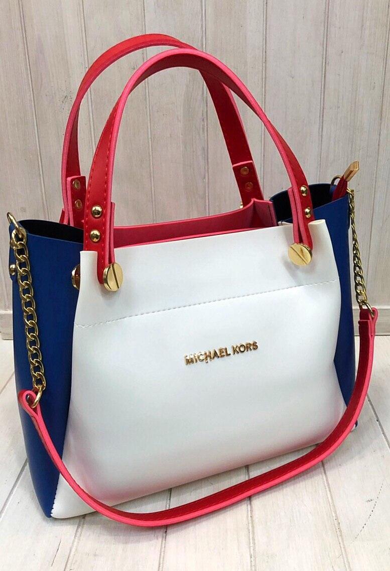 Женская сумка Michael Kors белая с синими вставками и красными ручками