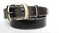 """Кожаный женский ремень 35 мм чорный с белой ниткой белыми краями пряжка """"качеля"""" цвет металик"""