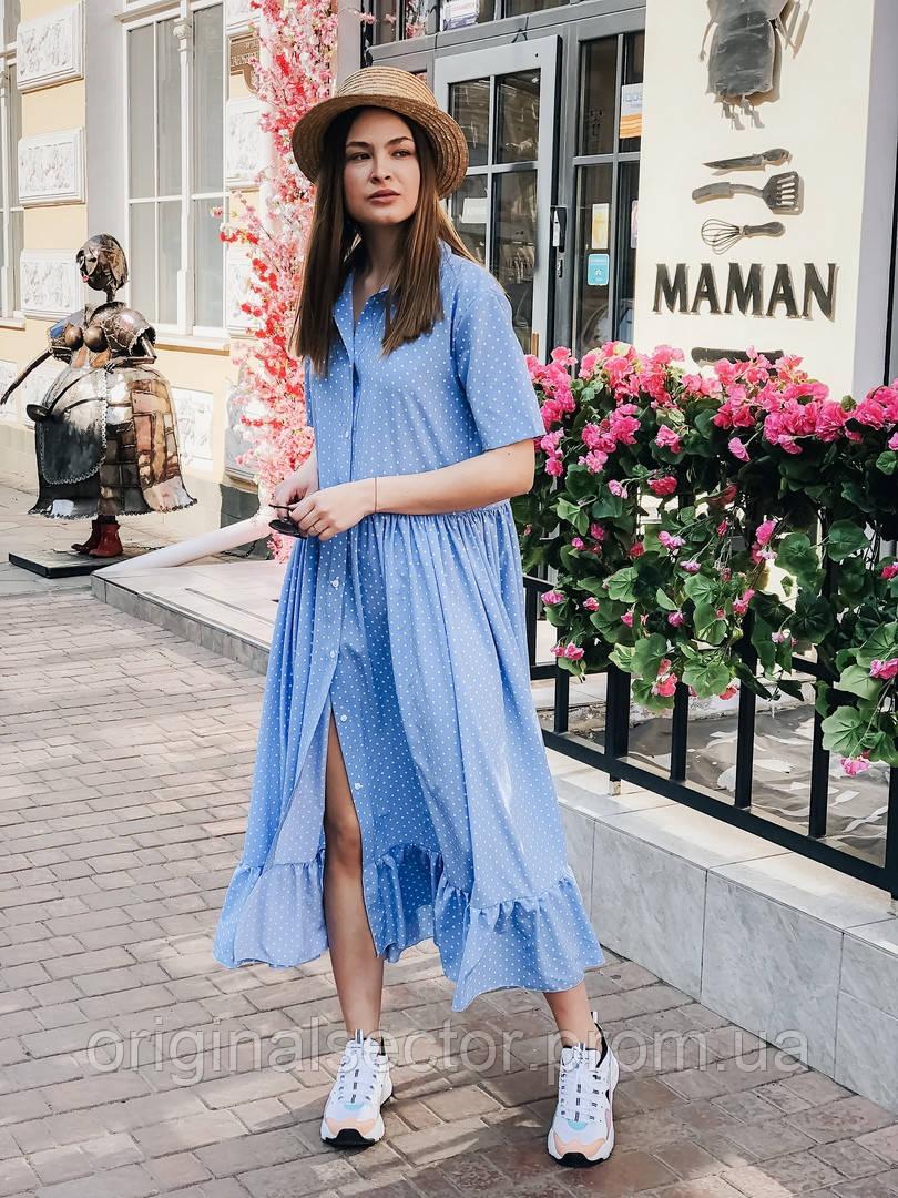 Летнее шелковое платье-рубашка миди