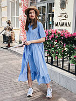 Летнее шелковое платье-рубашка миди , фото 1