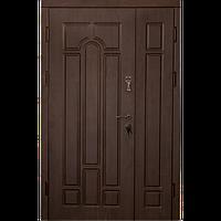 Входная металлическая бронированнная дверь Арка темный орех улица (серия «Эконом полуторный»)