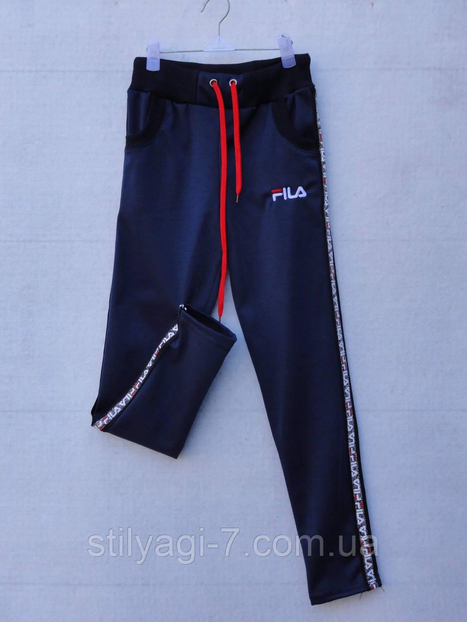 Спортивные штаны для девочки 7-11 лет черного цвета Fila оптом