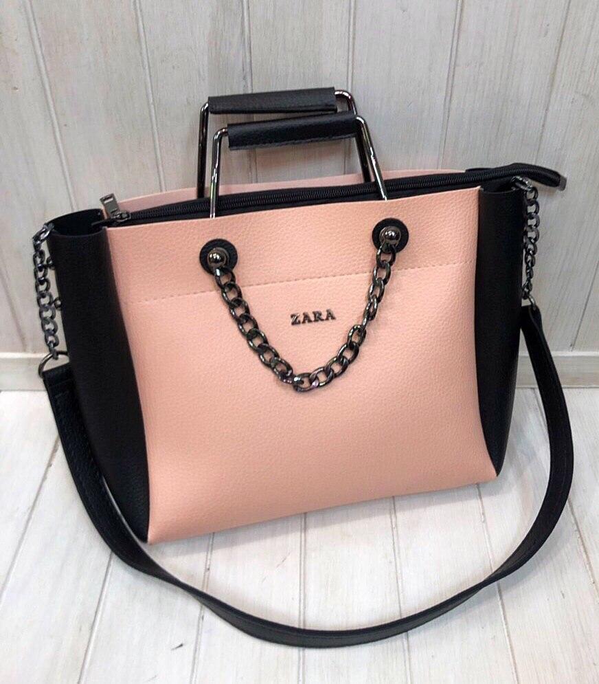 Сумка в стиле Zara пудра c черными вставками экокожа