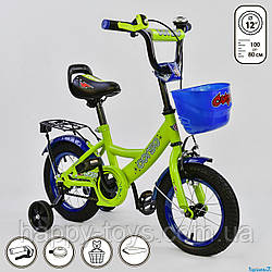 """Велосипед двухколесный 12"""" с  дополнительными колесами САЛАТОВЫЙ, ручной тормоз, звоночек CORSO G-12042"""