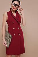 Стильное платье мини приталенное на пуговицах без рукав бордового цвета