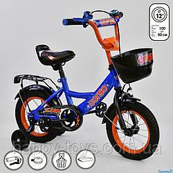 """Велосипед двухколесный 12"""" с дополнительными колесами ЭЛЕКТРИК, ручной тормоз, звоночек CORSO G-12108"""