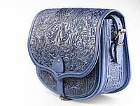 """Кожаная синяя сумка ручной работы """"В лесу"""" , фото 1"""