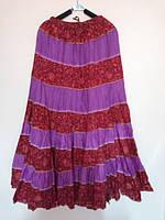 Юбка полосами фуксия и красная с узором, размер свободный, фото 1