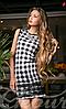 Женское короткое платье клетка без рукавов с кружевной вставкой французский трикотаж