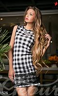 Женское короткое платье клетка без рукавов с кружевной вставкой французский трикотаж , фото 1