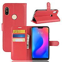 Чехол-книжка Litchie Wallet для Xiaomi Redmi Note 6 Pro Красный