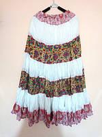 Юбка полосами, белая, розовая и рыжая, размер свободный, фото 1