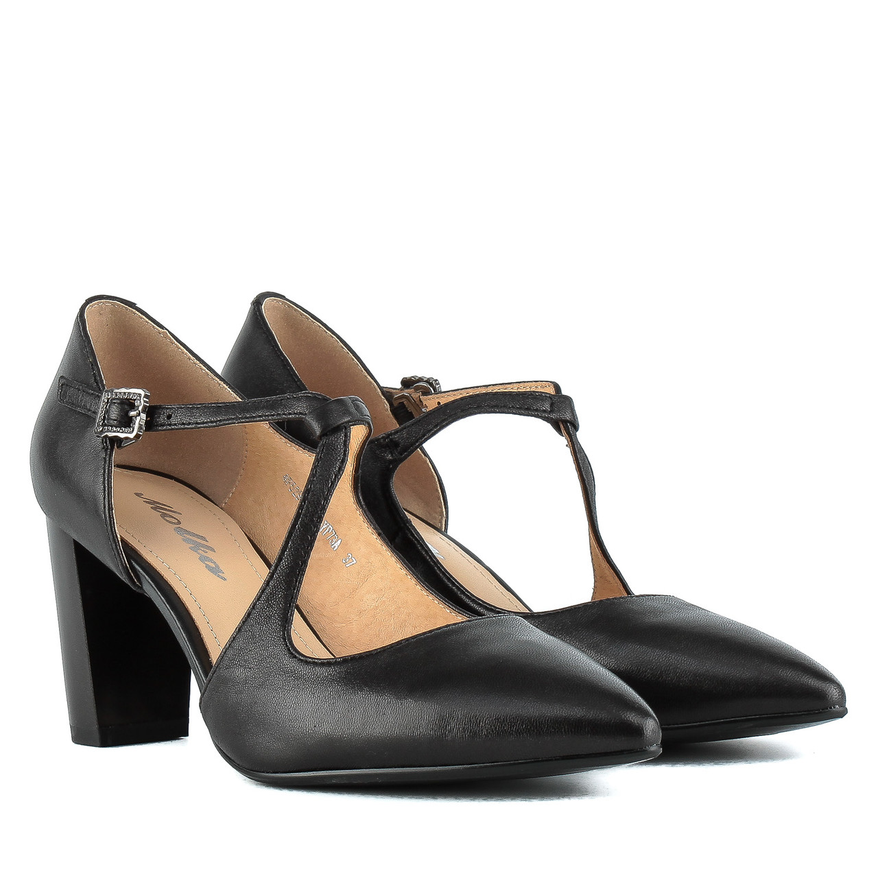 Туфли женские MOLKA (кожаные, черные, элегантные, на устойчивом каблуке)