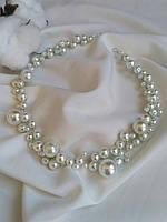 Жемчужная веточка в прическу из жемчужных бусин белого цвета, ободок из бусин на свадьбу