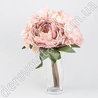 Пионы и гортензии искусственные, розово-коралловые, букет 7 шт., 21×30 см