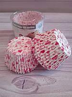 Бумажные формы для кексов сердце, 100 шт