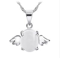 Серебряный кулон Ангел с белым опалом стерлинговое серебро 925 проба