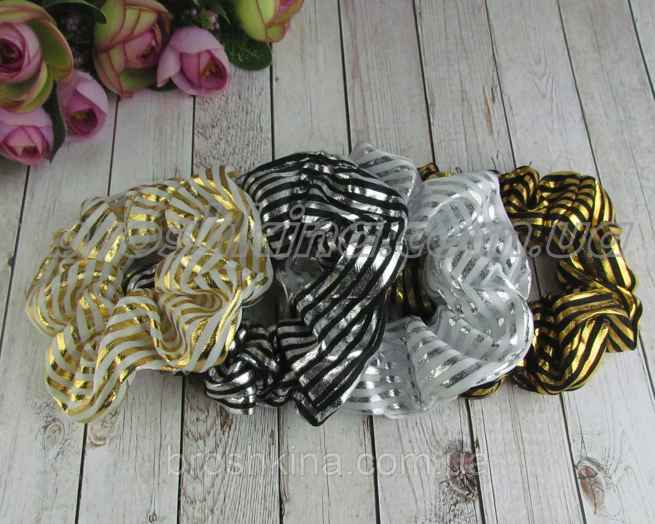Объемные резинки для волос текстиль с накатом d 9 см 12 шт/уп.