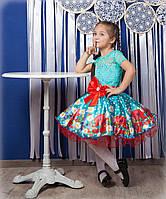 Дизайнерское пышное платье С Цветами маки и ромашки разные цвета 4-10 лет