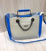 Сумка в стиле Zara белая с синими вставками экокожа