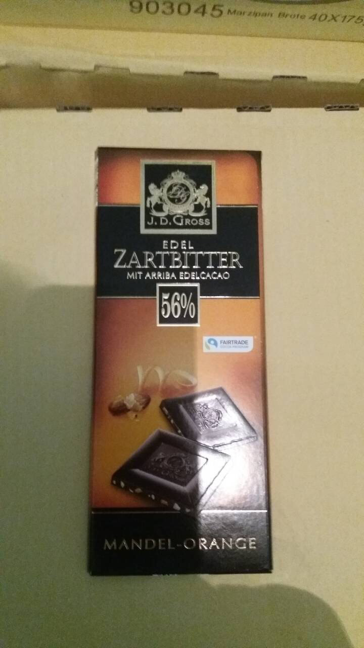 Черный шоколад 56% какао с миндалем и апельсином. 125гр. J.D. Gross Edel zartbitter mit arriba edelcacao.