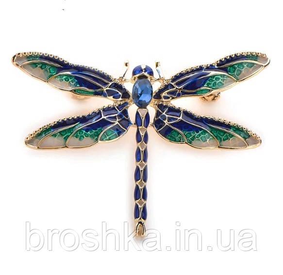 Брошь синяя стрекоза ювелирная бижутерия