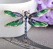 Брошь синяя стрекоза ювелирная бижутерия, фото 3