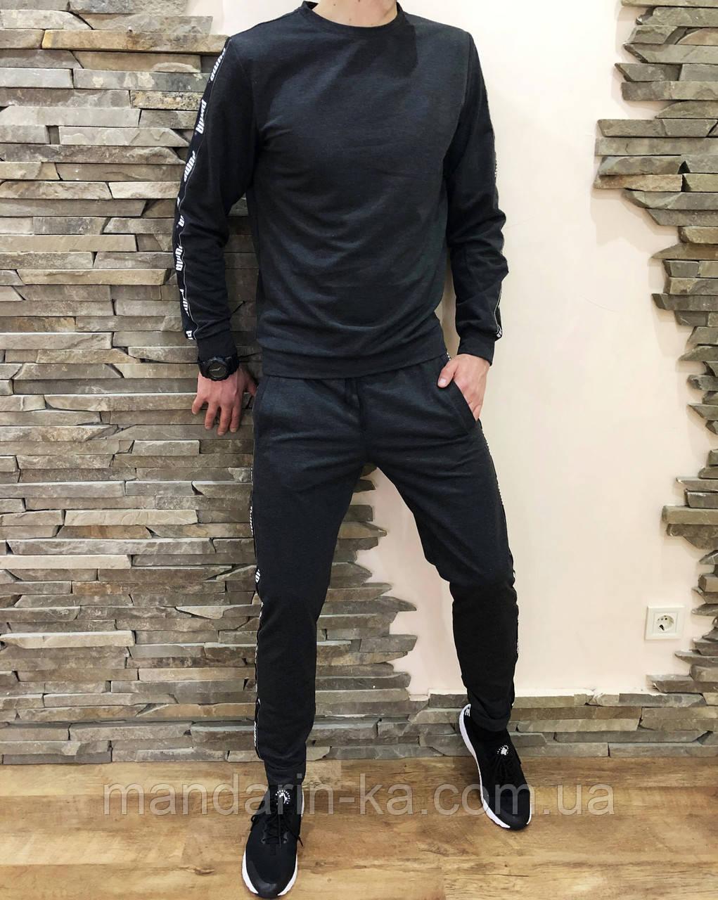 Костюм мужской спортивный серый кофта штаны (реплика)