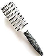 Щетка для волос натуральная с комбинированной щетиной расческа Salon Professional 0076B, фото 1