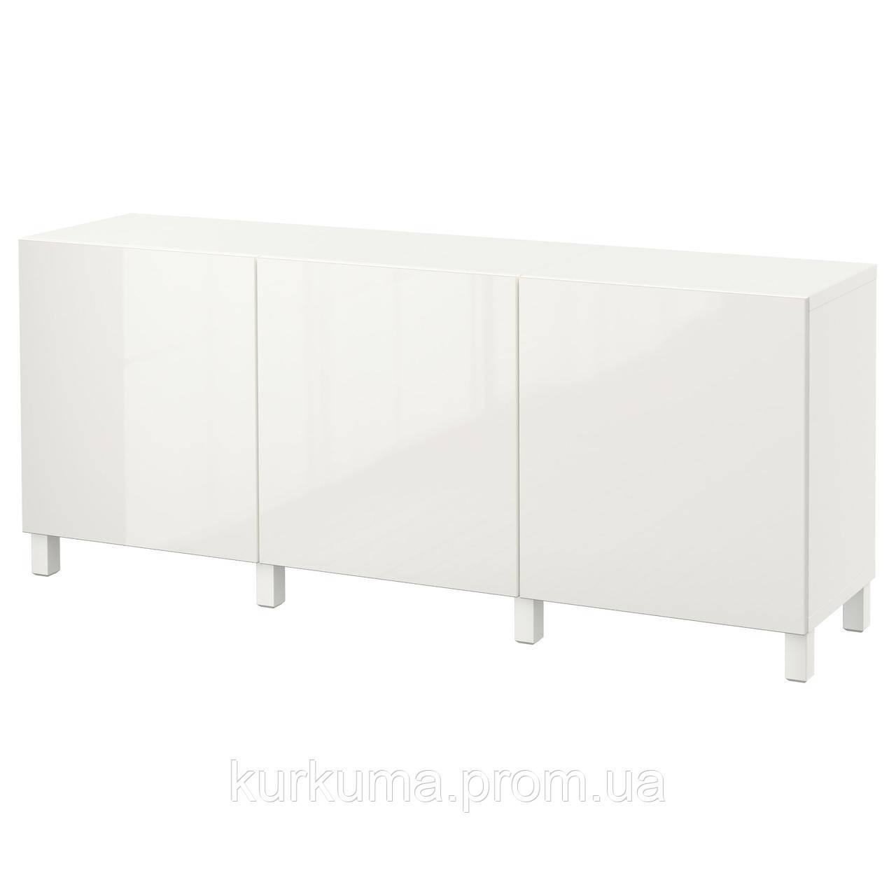 IKEA BESTA Тумба, белый, Сельсвикен глянцевый/белый  (891.398.19)