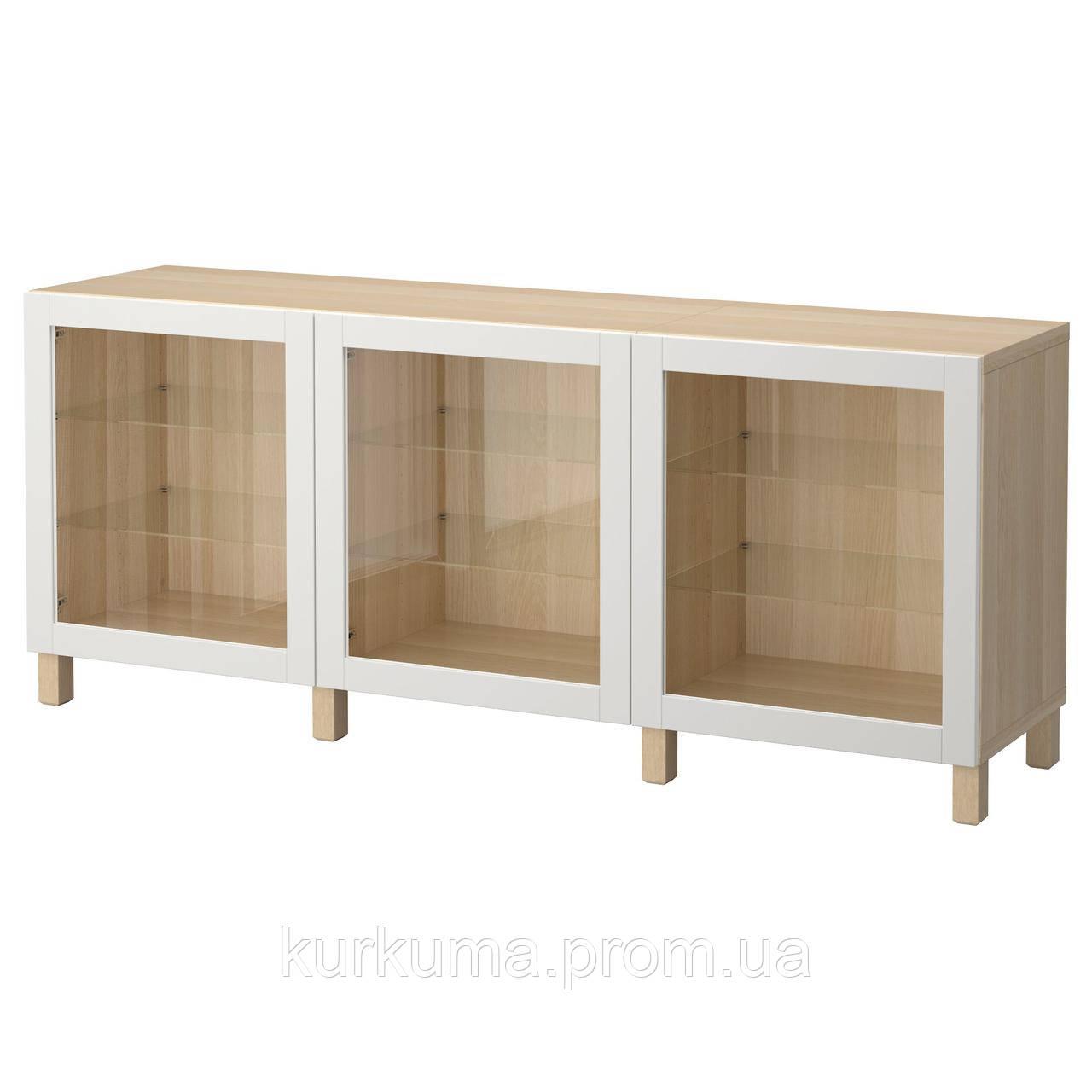 IKEA BESTA Тумба, беленый дуб, Синдвик светло-серое прозрачное стекло  (392.059.15)