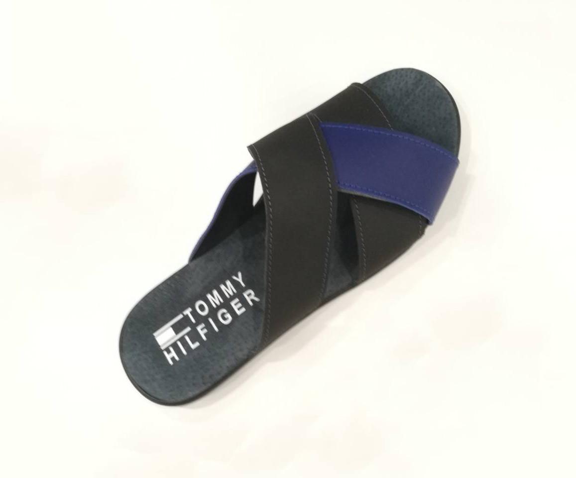 Шлепки мужские  (комбинация черного цвета с синим) / flip flops 144