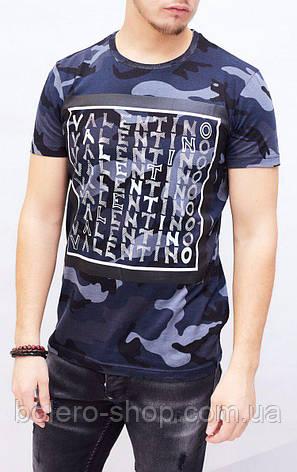 Футболка мужская Valentino синяя, фото 2