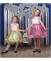 Дизайнерское пышное платье С пером жар-птицы разные цвета 4-10 лет, фото 1