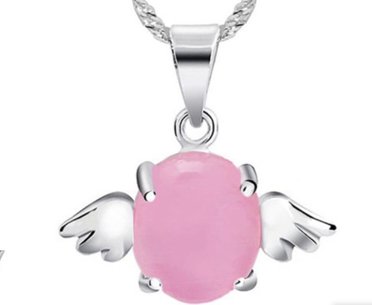 Серебряный кулон с розовым опалом Ангел стерлинговое серебро 925 проба