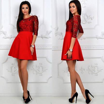 """Модное женское платье ткань """"Хлопок+Стрейч(костюмная)"""" верх с кружева 46 размер норма, фото 2"""