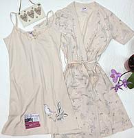 Комплект жіночий сорочка з халатом, фото 1
