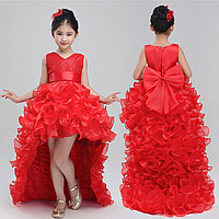 Платье красное с отстегивающимся шлейфом бальное выпускное нарядное для девочки в садик или школу, фото 1