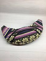 Барсетка барыжка бананов поясная сумка черная с разноцветными узорами