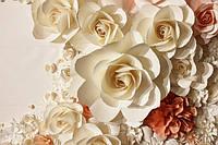 """3D фотообои """"Объемные белые цветы"""""""