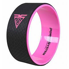 Йога колесо для фитнеса и аэробики Power System Yoga Wheel Pro PS-4085 Black-Pink - 145579