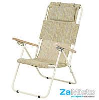 Кресло-шезлонг складное Vitan Ясень 20 мм (текстилен, бело-зеленый)