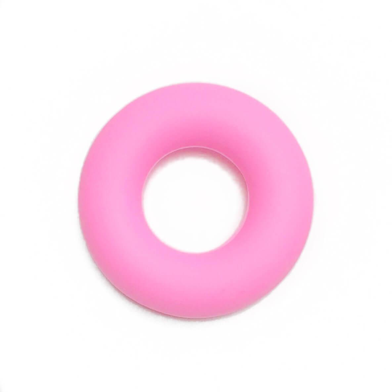 Колечко бублик (розовое) 43мм, бусины из пищевого силикона